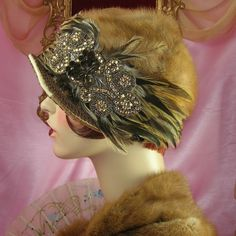 1920's Mink Rhinestone Feather Hat by Patricia Josephine Antique Style Design.        .