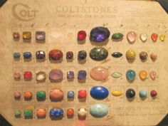 Sparkly Vintage Colt Gemstone Button. Red and Orange Confetti Glitter High Profile Dome Shaped Coltstone Mounted in a Wood Base with Hump Style Shank and Drilled Thread Run. Coltstones were advertised by the Colt Company as The Plastic Gem of Quality as shown on the Colt Salesman Sample Card which I have included in the description as Photo #5. The Button Measures 5/8 at widest point x 5/8 high. A Harder To Find Button and a lovely addition to your Colt Button Collection. Buttons ma...