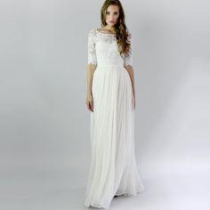 2015 Vintage Half Sleeve Wedding Dresses Lace A Line Boho Beach Floor Length Button Back Vestido De Matrimonio Custom Made