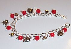 Silver Hearts and Red Bead Bracelet and Earrings by GlorysCloset, $8.00