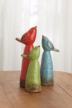 Three Ceramic Birds - Acacia