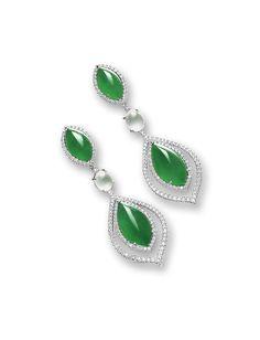 PAIR OF JADEITE, ICY JADEITE AND DIAMOND PENDENT EARRINGS    LOT SOLD. 437,500 HKD