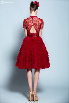 Chic Nostalgia Crimson Metallic Lace and Ruffled Tulle Dress