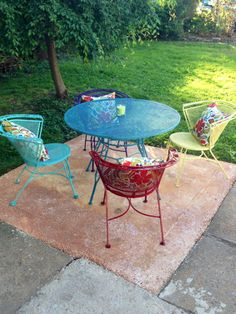 I added a pop of color to my black cast iron patio set.
