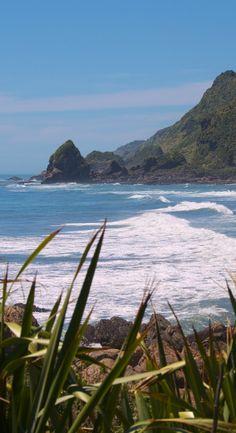 Rugged coastline on a sunny day, West Coast, New Zealand