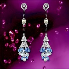 Mozafarian Diamond, Blue Topaz, White Topaz and pearl Chandelier Earrings, Available in Dubai Store