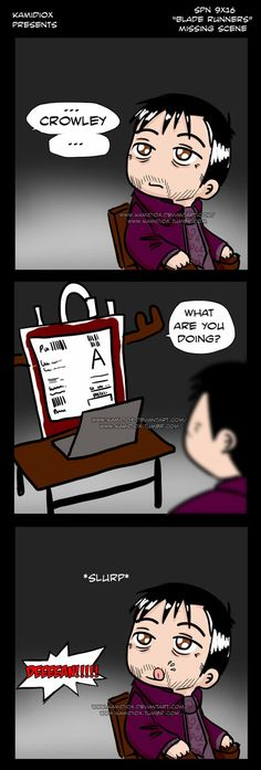 Supernatural 9x16 (blade runners) Missing Scene (Beware, spoilers) by KamiDiox on DeviantArt #Crowley #Sam #moose