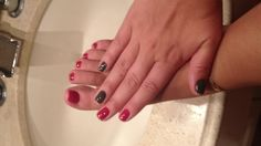 Red and grey mani and pedi!
