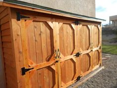 Double Wide Cedar Fence Picket Storage Shed Cedar Fence Pickets, Bamboo Fence, Gabion Fence, Fence Planters, Metal Fence, Fence Landscaping, Backyard Fences, Backyard Ideas, Outdoor Sheds