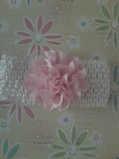 Infant Headband with Pink Flower by SimplyShabbiandChic on Etsy, $4.00