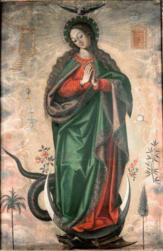 Antonio Acero de la Cruz, Inmaculada Concepción. Religious Images, Religious Art, Colonial Image, Holy Mary, Prayer Cards, Catholic Saints, Old Testament, Blessed Mother, My Favorite Image