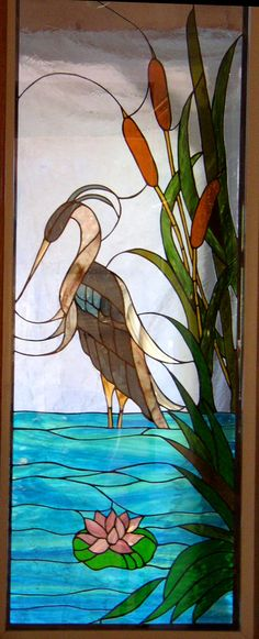 Gorgeous heron bird Staind glass window by: Kelley Studios Stained Glass Windows. Stained Glass Quilt, Stained Glass Birds, Faux Stained Glass, Stained Glass Designs, Stained Glass Panels, Stained Glass Projects, Stained Glass Patterns, Mosaic Art, Mosaic Glass