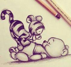 My Disney Drawing - Tigger and Pooh .-Meine Disney-Zeichnung – Tigger and Pooh … – My Disney drawing – Tigger and Pooh … – - Doodle Drawings, Art Drawings Sketches, Easy Drawings, Tigger And Pooh, Pooh Bear, Geometric Tatto, Realistic Sketch, Cute Disney Drawings, Drawing Disney