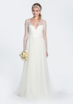 In love with this Paolo Sebastian 'Kate' Lace Long Sleeve Wedding Dress