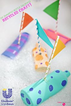 Have fun craft recycle with your kids this summer!! With this DIY Shampoo Bottle Sailboats project, you get to be creative AND help the environment for a brighter future. Inspired by @UnileverUSA :) #partner #craft #kidscraft #recycle #recyclecraft