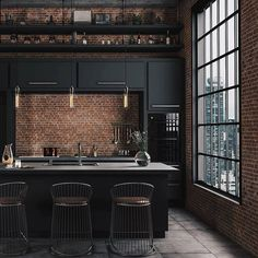Architecture House City The best Luxury kitchen - Las mejores cocinas Interior Design Photos, Interior Design Living Room, Industrial House, Vintage Industrial, Industrial Chic Decor, Industrial Bedroom Design, Industrial Decorating, Industrial Kitchens, Industrial Lamps