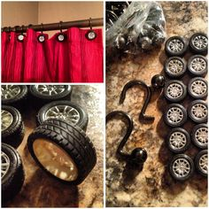 I couldn't find shower hooks I liked to match the Harley theme so I made some. Used RC wheels & repurposed old hooks.