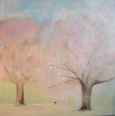 "36""x36"" original painting ""Pink Snow"" by Pami Ciliax-Guthrie www.artgratitude.com pamic@ymail.com"