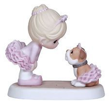 Precious Moments I Believe In You Ballerina & Bull Dog Wearing Pink Tutu 124014