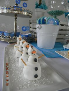 Snowman treats at a Frozen birthday party!    See more party ideas at CatchMyParty.com!