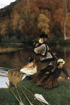 Autumn on the Thames, 1872 by James Tissot. Impressionism. genre painting. Private Collection