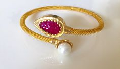 Items similar to On sale - Ruby and Pearl Bangle Bracelet, Ruby Kada, Indian Jewelry, Bridesmaid Gift on Etsy Gold Bracelet For Women, Gold Bangle Bracelet, Hand Jewelry, Bead Jewellery, Gold Bangles Design, Jewelry Design, Gold Watches Women, Jewelry Model, Unique Earrings