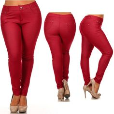 Women's Plus Size Cotton Jeans Look Skinny Jeggings Stretch Red Pants Size 3XL >>> Check this awesome product by going to the link at the image. (Note:Amazon affiliate link)