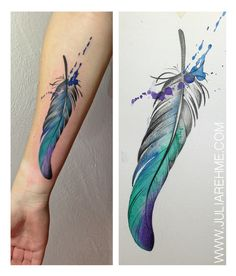 Feather, Feathertattoo, Watercolour