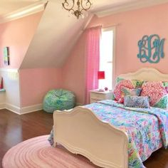Summer dreams start with this Lilly Pulitzer Party Patchwork Quilt in fun tropical-inspired prints. Sky blues, botanical greens and pops of orchid pink mix with lots of texture to bring Lilly's iconic style their room. Bedroom Decor For Teen Girls, Teen Girl Bedrooms, Big Girl Rooms, Bedroom Ideas, Girls Bedroom Pink, Shared Bedrooms, Room Color Schemes, Room Colors, Dream Rooms