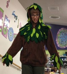 homemade tree costumes for children   Ta da! Here I am in one of our tree hoodies!
