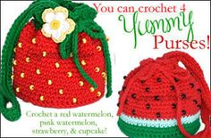 A quartet of Yummy Purses! Red Watermelon, Pink Watermelon, Strawberry and Cupcake! Crochet Handbags, Crochet Purses, Crochet For Kids, Crochet Baby, Watermelon Bag, Crochet Strawberry, Knitted Flowers, Heirloom Sewing, Kids Bags