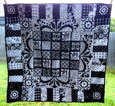 A black and white quilt; very pretty.