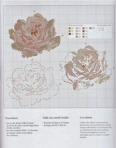 """Helene Le Berre Милые сердцу штучки: рукоделие, декор и многое другое: Вышивка крестом: """"Три розы и один пион"""""""
