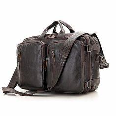 Leather Bags for Men, Clean Vintage Hybrid Backpack Messenger Bag | Briefcase Backpack Satchel- BookBag Rucksack Daypack-Tanned Leather, Brown