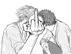 Law and Kidd One Piece, Yuri, Bl Comics, Anime Boyfriend, Trafalgar Law, Black White Art, Anime One, Anime Stuff, Best Couple