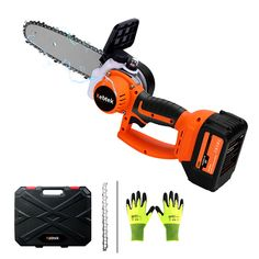 10 Inch 21V 3Ah Cordless Brushless Rechargeable Chain Saw Powerful Electric Pruning Shears for Tree Branch Wood Cutting Two Chain Electric Chainsaw, Wood Cutting, Pruning Shears, Tree Branches, Outdoor Power Equipment, Garden Tools, Mini, Gardening Scissors, Yard Tools
