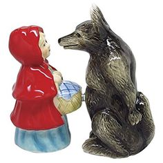 Little Red Riding Hood And Wolf Magnetized Salt and Pepper Shaker Set