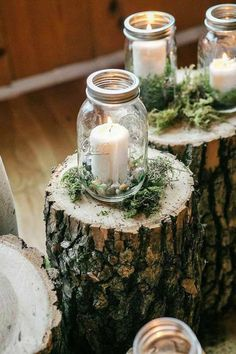 Candles on maon jar wedding decor / http://www.deerpearlflowers.com/wedding-ideas-using-candles/4/