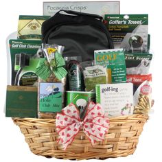 Surprise your significant other with this golf-themed gift basket that includes some useful and entertaining literature on the sport, high-quality golf tees and terrycloth towels. Includes light snack
