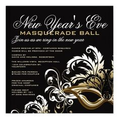 new year s eve masquerade party invitation nye party invite