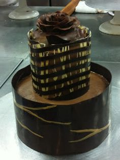 Two-Tier Chocolate Raspberry Cake decorated with chocolate lattice and sheets and topped with a chocolate rose!