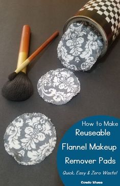 Click to read the step by step DIY tutorial how to make quick, easy, and zero waste, reusable flannel cloth makeup remover rounds, pads, and wipes