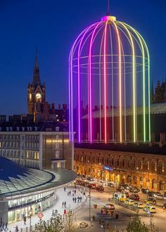 Neon art installation at Kings Cross Station in London