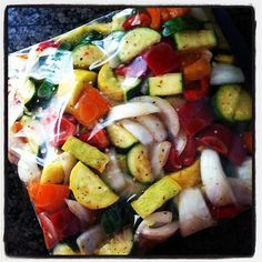 Grilled Veggies - Red, yellow, or orange bell peppers, squash, zucchini, and sweet onion. Marinade in 1 part italian salad dressing to 3 parts greek salad dressing. The longer the better but at least a couple of hours. Throw on the outdoor grill and cook until done stirring occasionally to prevent too much charing. I use a metal grill tray/pan but you could probably use foil if you poke a few small holes for drainage. They are even better the second day. Summer staple.