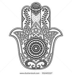 Vector hamsa hand drawn symbol - stock vector Mais