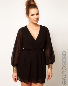 ASOS Curve Exclusive Wrap Dress With Embellished Cuff