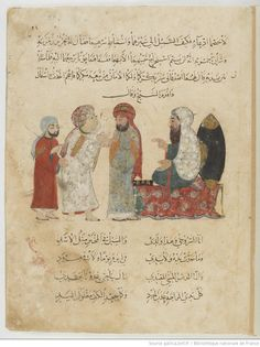 Folio 22 Recto: maqama 08. Abu Zayd admitting the ruse to the Kadi