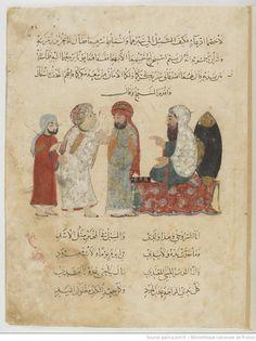 Folio 22 Recto: maqama 08. Abu Zayd admitting the ruse to the Kadi
