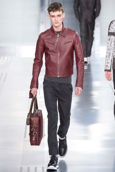 Tailored leather: Louis Vuitton - Fall 2015 Menswear - Look 27 of 39