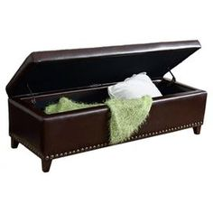 """Joss & Main Storage bench Construction Material: Hardwood and upholsteryColor: BrownFeatures:  Button-tuftedNailhead trim Leather-inspired  Dimensions: 16"""" H x 51"""" W x 19.25"""" D"""